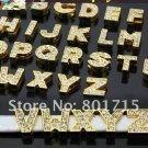Wholesale lot Slide letters Charms 8mm Rhinestone Gold Alphabet