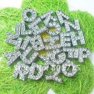 Wholesale lot Slide letters Charms 8mm Rhinestone Silver Alphabet