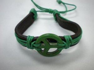 peace sign BRACELET hott -n- hip Brand New Fashion Cord Bracelet GREEN