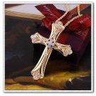 Womans spiritual Cross pendant necklace 18k gp Free shipping
