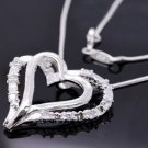 Free shipping 925 sterling silver Heart Zircon pendant Necklace