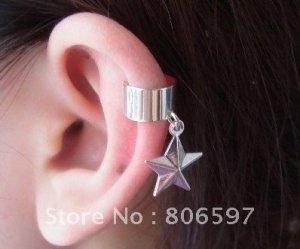 .925 silver ear cuff earrings 2pc's star & heart