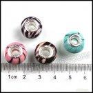 DIY 64 pc Round Resin Loose Charms Beads Black Lines Fit European Bracelet