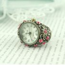 woman's heart fashion watch ring fingers pink