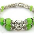 Green Jade Silver beads Bracelets bangle Fashion Free shipping