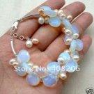 Natural Opal Pearl Bracelet Tibet Silver jewelery
