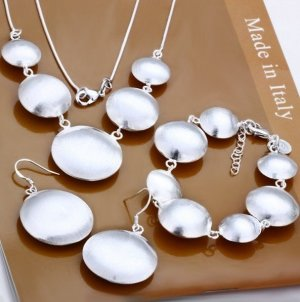 Circ of spheres 925 silver jewelry set necklace EARRINGS bracelet FREE SHIP