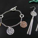Bronze, silver & gold trio 925 silver HEARTS bracelet & earrings set FREE SHIP