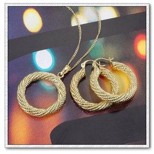 14k gold plated jewelry sets Necklace earrings Fashion women's jewlery set
