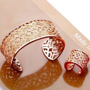 Free Shipping 18 K Gold Crystal Bangle & Ring Fashion Jewelry