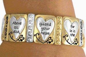 STRETCH gold tone BRACELET religious jewelry Proverbs 4:23