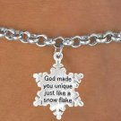 Snowflake Charm and Chain bracelet religious jewelry