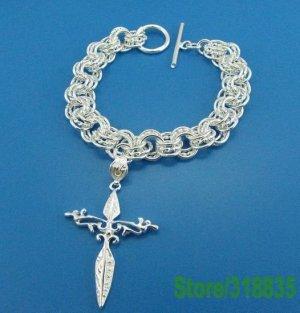 Cross charm .925 sterling silver bracelets