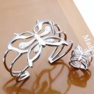 Free Shipping Fashion Jewelry Set 925 Sterling Silver Bangle & Ring Set