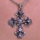 Aurora Borealis Crystaled CROSS necklace religious fashion jewelry