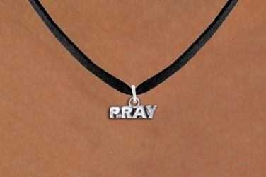 PRAY religous charm on NECKLACE silver tone Black Suede Leatherette