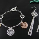 Bronze, silver & gold trio 925 silver HEARTS bracelet & earrings set