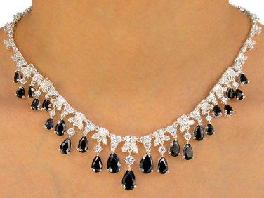 Genuine Black Austrian Crystal Teardrops Necklace Titanium Post Earrings