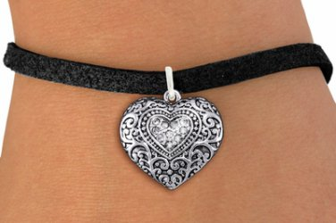 FASHION BRACELET Western Heart Charm Black Suede Leatherette JEWELRY
