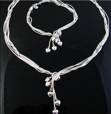 925 jewelry set DANGLE HEARTS classic style hot fashion jewelry necklace bracele