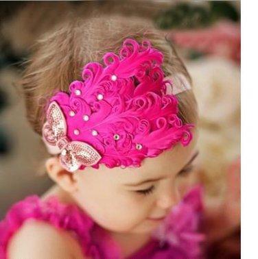 Infant Baby Toddler FH03 Feather Flower Diamond Soft Headband Headwear Hair Band