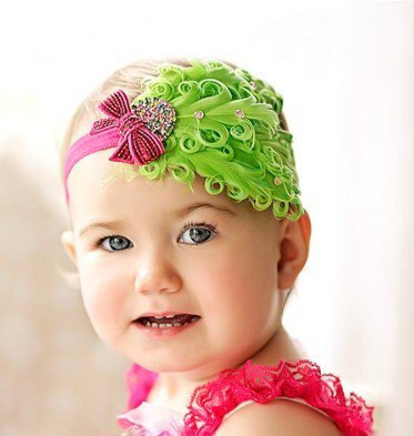 Infant Baby Toddler FH04 Feather Flower Diamond Soft Headband Headwear Hair Band
