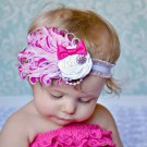 Infant Baby Toddler FH05 Feather Flower Diamond Soft Headband Headwear Hair Band