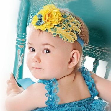 Infant Baby Toddler FH06 Feather Flower Diamond Soft Headband Headwear Hair Band