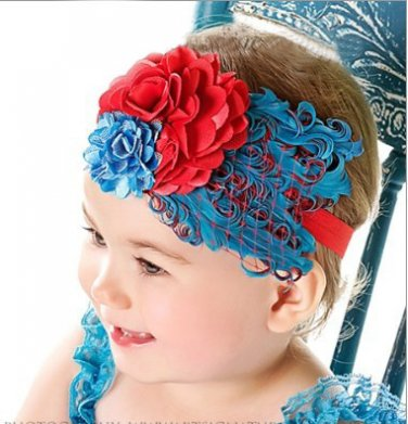 Infant Baby Toddler FH07 Feather Flower Diamond Soft Headband Headwear Hair Band