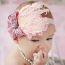 Infant Baby Toddler FH08 Feather Flower Diamond Soft Headband Headwear Hair Band