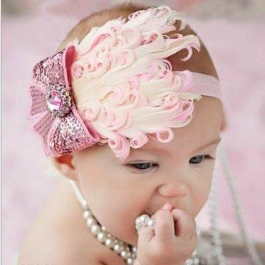 Infant Baby Toddler FH08 Feather Flower Diamond Soft Headband Headwear Hair Band