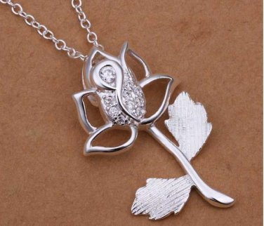 925 Silver Necklaces Pendants Sterling Silver Jewelry ROSE shaped Necklace
