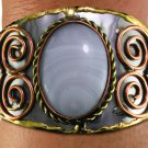 FASHION BRACELET Cuff Bracelet BRIGHT white OVAL Lead Free Handmade