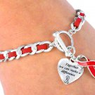 AIDS Awareness red leather toggle BRACELET together we can make a difference