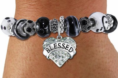 Silver tone black white unique beaded bracelet BLESSED crystal HEART charm