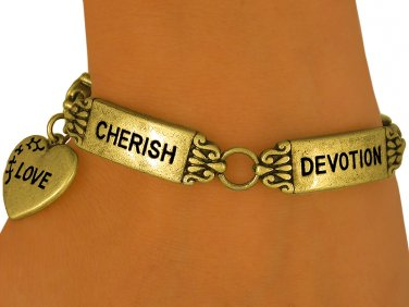 Antique Gold Finish INSPIRATIONAL word tile FASHION bracelets devotional jewelry