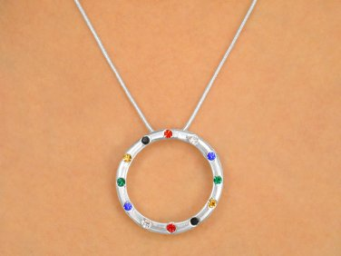 """Circle Of Salvation"" Pendant polished silver tone crystal necklace & earring set"