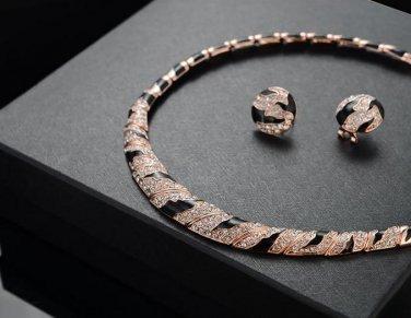 Elegant Rose Gold Clear Leopard Print Enamel Crystal Rhineston Earrings Necklace