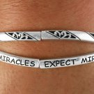 "Silver Tone Stretch Criss Cross Bracelet Says ""Expect Miracles"""
