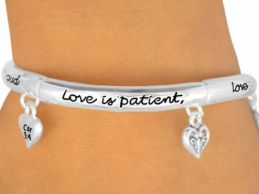 HEART charm STRETCH bracelet LOVE is Patient Polished Silver