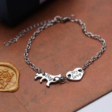 I LOVE Dog bracelets bangles MANS BEST FRIEND Bracelet Silver Bracelet