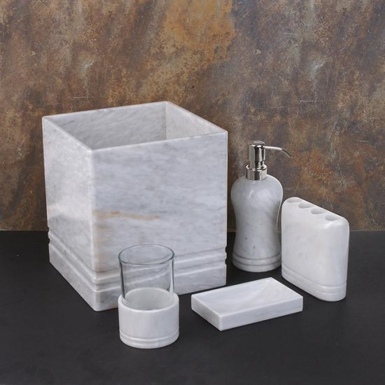 4-piece White Marble Bath Accessory Set