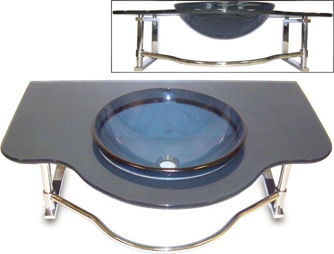 Fontaine Wallmount Glass Vanity with Drain Assembly