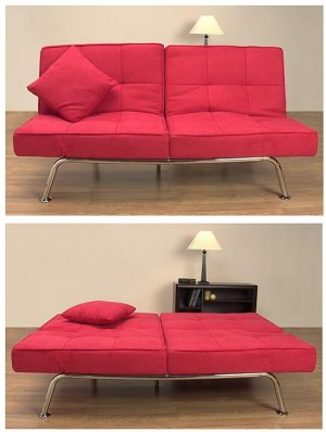 New Yorker Red Microsuede Sofa Bed