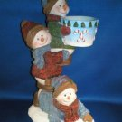 CHRISTMAS PLAYFUL SNOWMEN VOTIVE CANDLE HOLDER