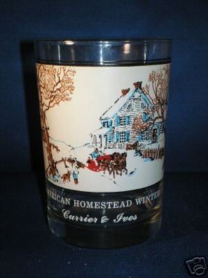GLASSWARE AS SHOWN~CURRIER & IVES AM HOMESTEAD WINTER