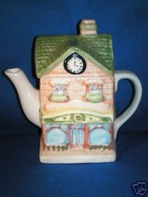 DECORATIVE TEA POT AS SHOWN~SCHOOL WITH CLOCK