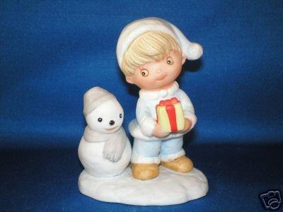 FIGURINE HOMCO CHRISTMAS KIDS & SNOWMAN 5613 STAMP