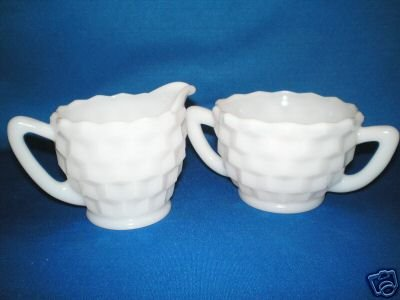 WHITE CREAMER AND SUGAR BOWL AS SHOWN