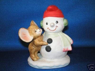 FIGURINE HOMCO CHRISTMAS SNOWMAN & MOUSE 8905 STAMP